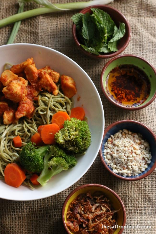 Burmese khow suey- edamame noodles
