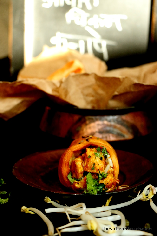 Achari Chicken in garlic bread cone-close up