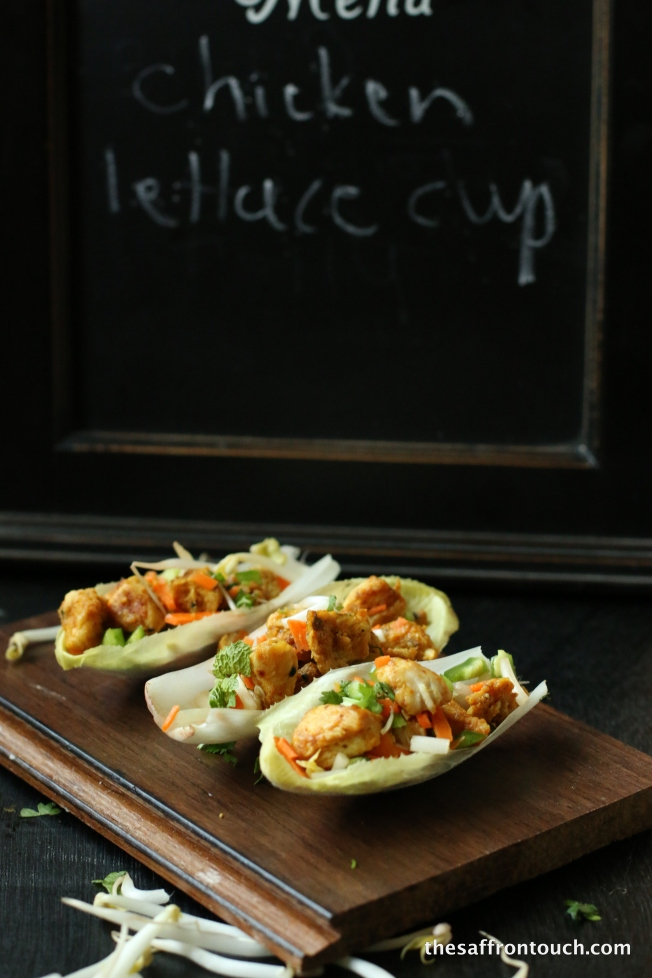 Achari Chicken lettuce cup with garlic crouton